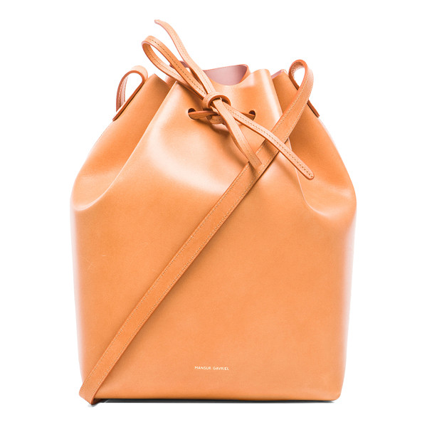 MANSUR GAVRIEL Coated large bucket bag - Vegetable tanned leather with gold-tone hardware and matte...