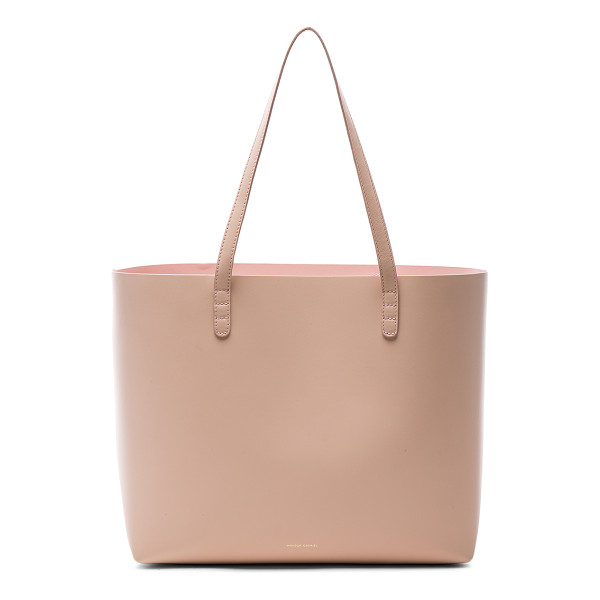 MANSUR GAVRIEL Large Tote - Vegetable tanned leather with pink matte patent leather