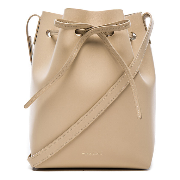 MANSUR GAVRIEL Mini bucket bag - Calfskin leather with matte patent leather lining and...