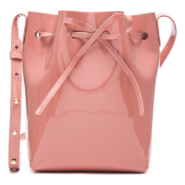 "MANSUR GAVRIEL Mini Bucket - ""Italian patent leather with raw lining and gold-tone..."