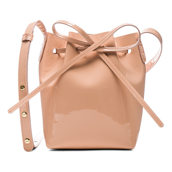 MANSUR GAVRIEL Mini Mini Bucket Bag - Patent leather with matte leather lining and gold-tone...
