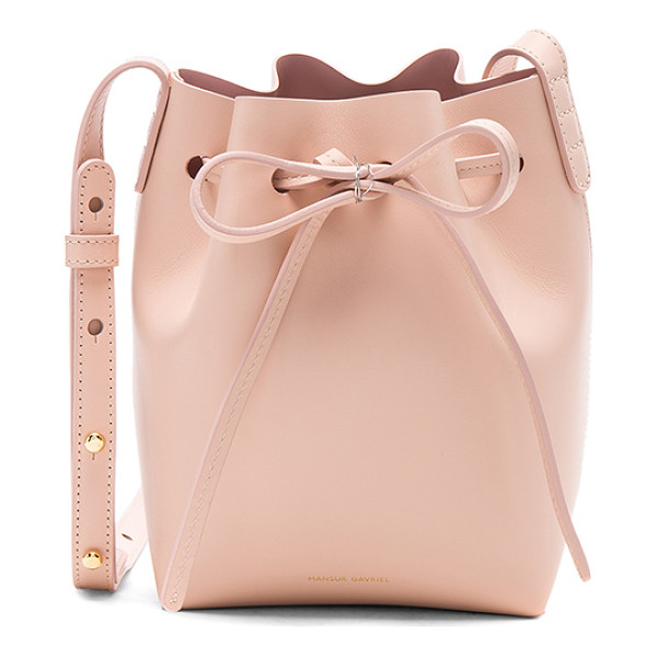 "MANSUR GAVRIEL Mini Mini Bucket Bag - ""Vegetable tanned leather with matte leather lining and..."