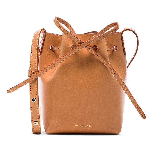"MANSUR GAVRIEL Mini Mini Bucket Bag - ""Calfskin leather with light pink matte patent leather..."