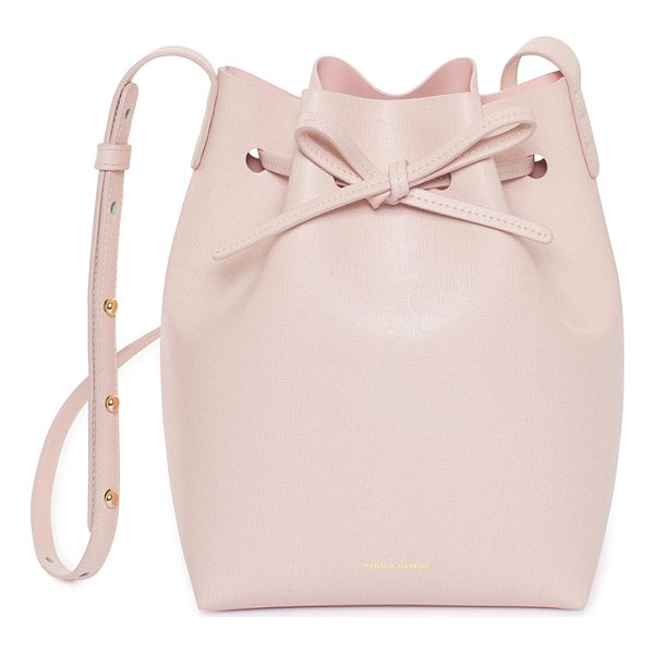 MANSUR GAVRIEL Saffiano Mini Bucket Bag - Saffiano leather with light pink matte patent leather...