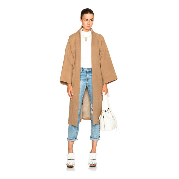 MARA HOFFMAN Wool wrap coat - 90% poly 10% viscose.  Made in India.  Open front.  Tie...
