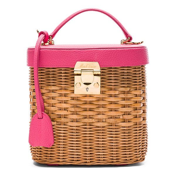 "MARK CROSS Benchley Rattan Bag - ""Pebbled leather and woven rattan with red twill lining and..."