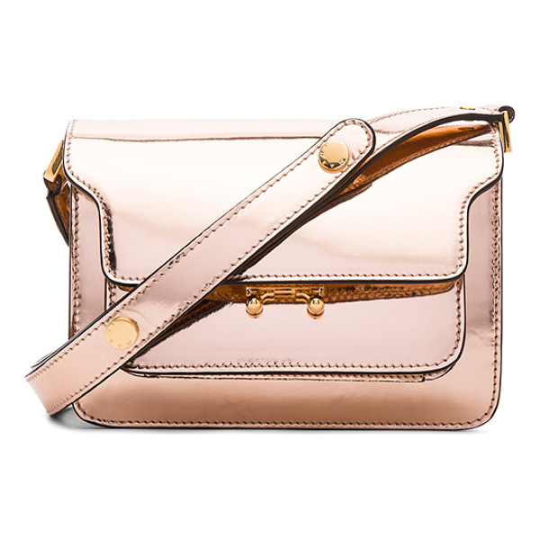 MARNI Mini Metallic Trunk Bag - Metallic calfskin leather with fabric lining and gold-tone