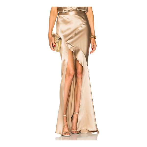 MICHELLE MASON Bias Maxi Skirt - 100% silk.  Made in China.  Dry clean only.  Hidden side...