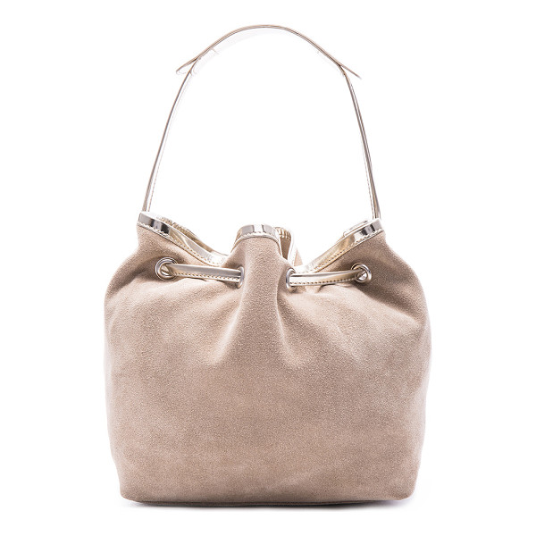MM6 MAISON MARGIELA Drawstring bag - Genuine suede with raw lining and silver-tone hardware. ...