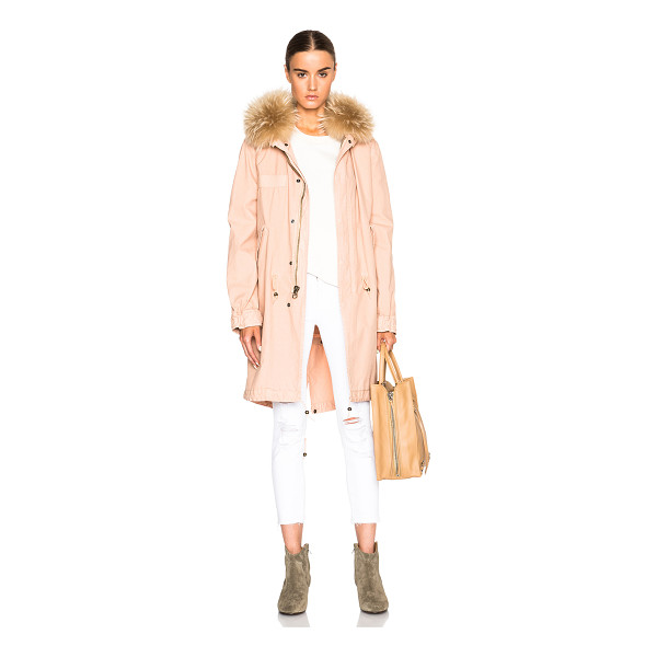 MR & MRS ITALY Canvas parka jacket with raccoon fur - Self: 100% cotton - Trim: 100% real dyed raccoon fur.  Made...