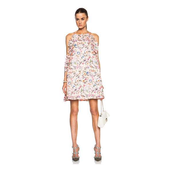 MSGM Floral printed ruffle mini dress - Self: 100% silk - Lining: 100% poly.  Made in Italy.  Fully...