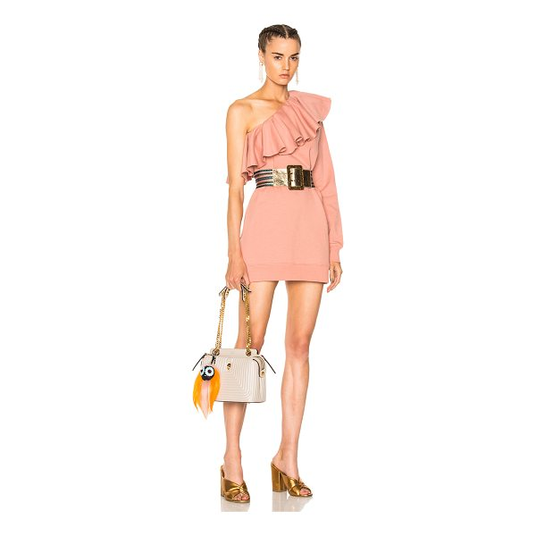 MSGM One Shoulder Ruffle Dress - 100% cotton.  Made in Italy.  Machine wash.  Ruffled fabric...