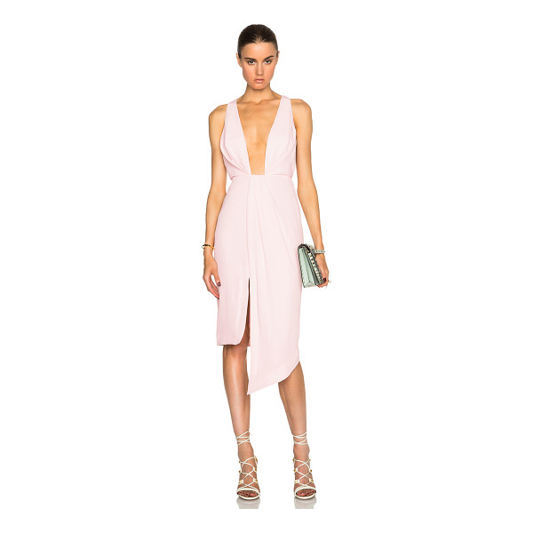 NICHOLAS Crepe deep v gathered dress - Self: 100% poly - Lining: 95% poly 5% spandex.  Made in...