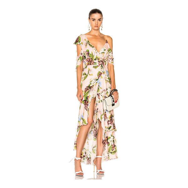 NICHOLAS Wrap Flounce Maxi Dress - Self: 100% silk - Lining: 100% poly.  Made in China.  Dry...