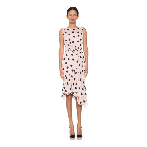 NINA RICCI Polka dot ruffle hem dress - Self & Lining: 100% silk.  Made in France.  Fully lined. ...