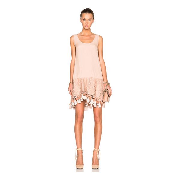 NO. 21 Lace & Fringe Dress - Self: 100% polyContrast Fabric: 69% acetate 31% silk. Made...