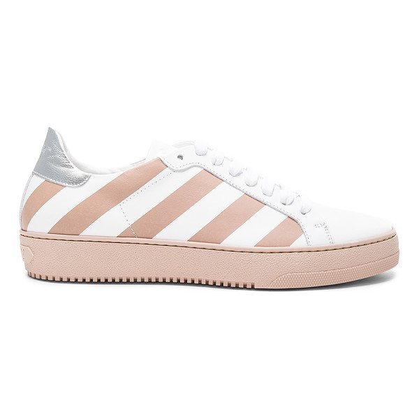OFF-WHITE Classic Diagonals Leather Sneakers - Leather upper with rubber sole.  Made in Italy.  Metallic