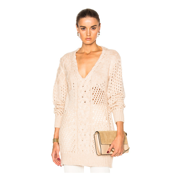 PRABAL GURUNG Cashmere V Neck Sweater - 100% cashmere. Made in Nepal. Dry clean only. Cable knit...