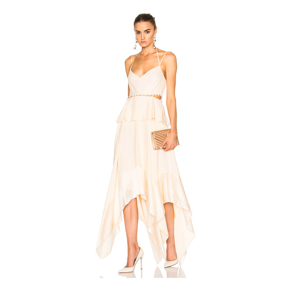 PRABAL GURUNG Silk Charmeuse Handkerchief Hem Dress - 100% silk. Made in USA. Dry clean only. Fully lined. Neck...