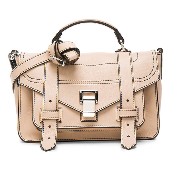 PROENZA SCHOULER Tiny PS1+ Grainy Calf Leather - Genuine grained leather with fabric lining and silver-tone...