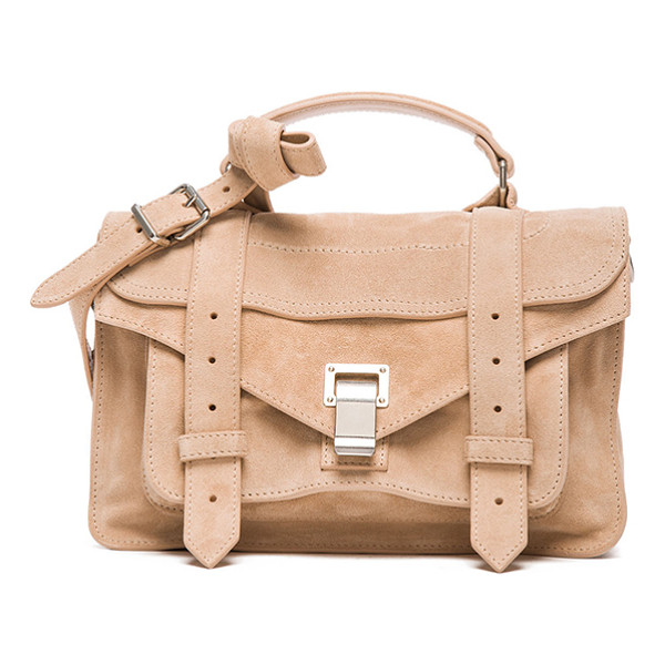 PROENZA SCHOULER Tiny ps1 suede - Genuine suede with signature jacquard fabric lining and...