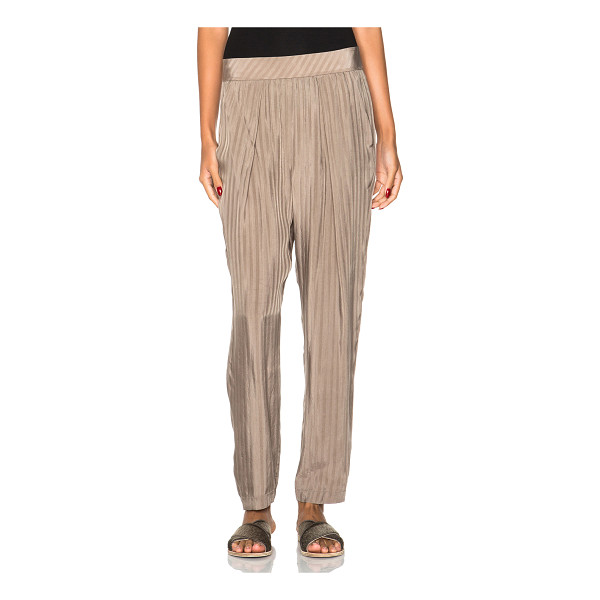 RAQUEL ALLEGRA Easy pants - 100% cupro.  Made in China.  Elastic waist.  Side slit...