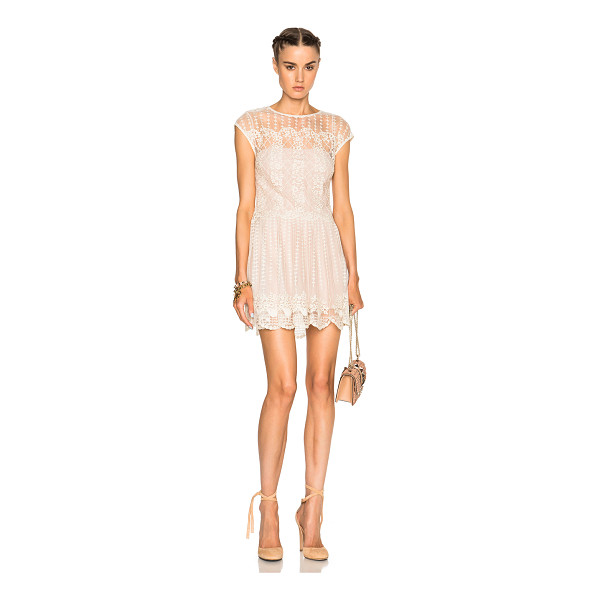 RED VALENTINO Lace Mini Dress - 100% poly.  Made in China.  Fully lined.  Lace knit fabric....