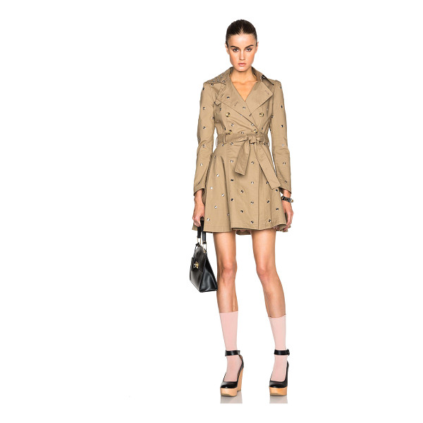 RED VALENTINO Mackintosh trench coat - 100% cotton.  Made in China.  Button front closures. ...