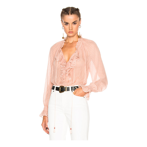 ROBERTO CAVALLI Woven Blouse - 100% silk. Made in Italy. Dry clean only. Sheer textured...