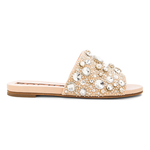 ROCHAS Crystal suede sandals - Suede upper with leather sole.  Made in Italy.  Metallic...