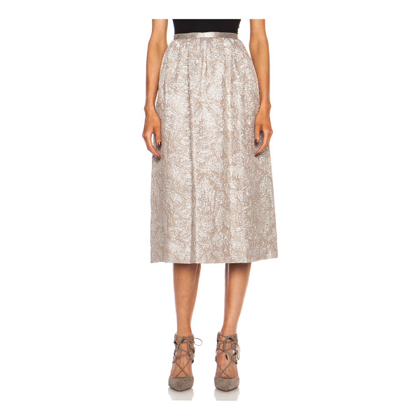 ROCHAS Silk knee length skirt - 76% silk 24% poly.  Made in Italy.  Textured pleated...