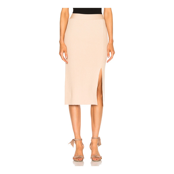 RYAN ROCHE Bottom Slit Fitted Skirt - 93% cashmere 7% poly.  Made in Italy.  Dry clean only.  Rib...