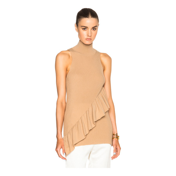 RYAN ROCHE Ruffled cashmere top - 100% cashmere.  Made in Nepal.  Rib knit fabric.  Ruffled...