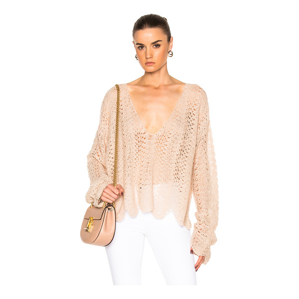 RYAN ROCHE V Neck Open Crochet Sweater - 100% cashmere.  Made in Nepal.  Dry clean only.  Knit...