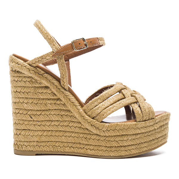 SAINT LAURENT Braided Leather Platform Espadrilles - Braided jute upper with rubber sole. Made in Spain. Approx...