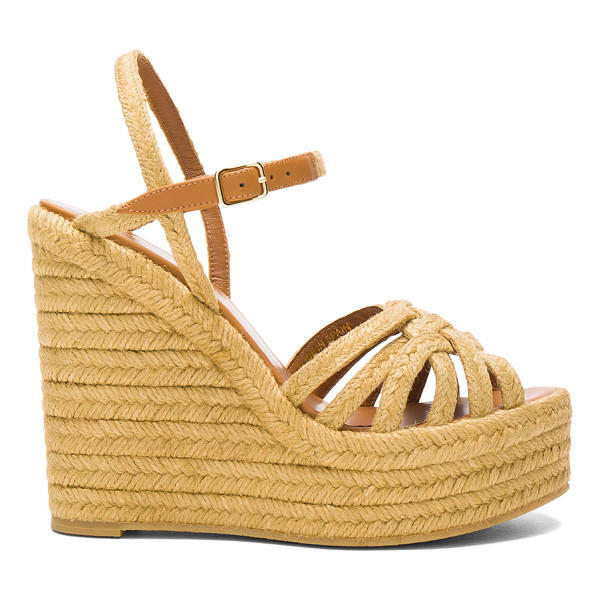 SAINT LAURENT Espadrille Wedges - Jute upper with rubber sole.  Made in Spain.  Approx 40mm/