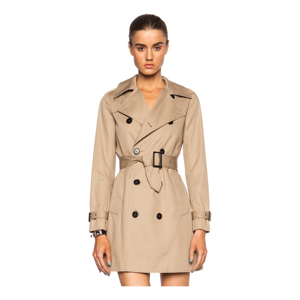 SAINT LAURENT Gabardine babydoll poly-blend trench - Self: 65% poly 35% cotton - Contrast Fabric: 100% cotton -...