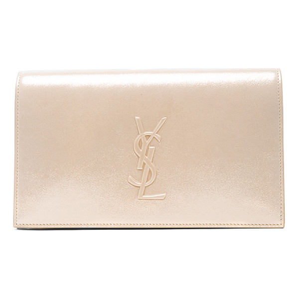 SAINT LAURENT Monogramme Kate Clutch - Sueded metallic fabric with grosgrain lining and gold-tone...