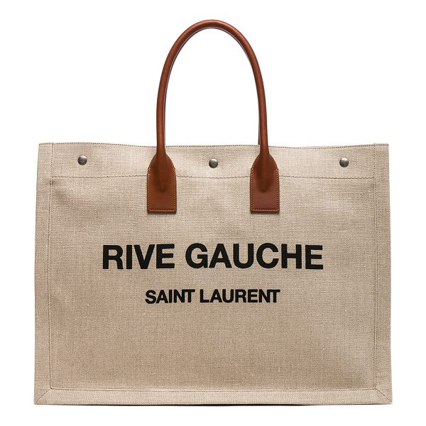 SAINT LAURENT Large Canvas & Leather Rive Gauche Noe Tote - Unlined canvas fabric with brushed silver-tone hardware....