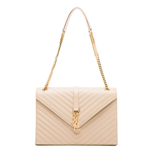 SAINT LAURENT Large monogram envelope chain bag - Pebbled calfskin leather with grosgrain lining and...