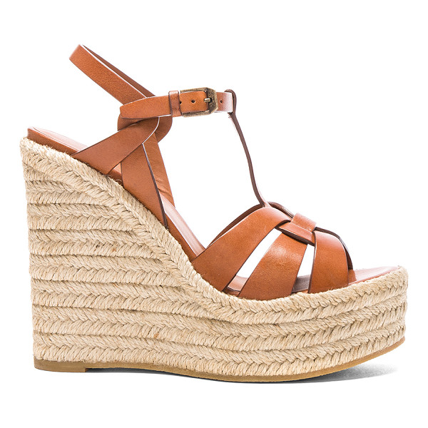 SAINT LAURENT Leather Espadrille Wedges - Leather upper with rubber sole. Made in Spain. Approx 40mm/...
