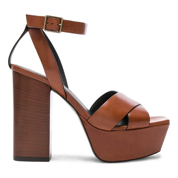 SAINT LAURENT Leather Farrah Cross Strap Platform Sandals - Leather upper and sole.  Made in Italy.  Approx 40mm/ 1.5...