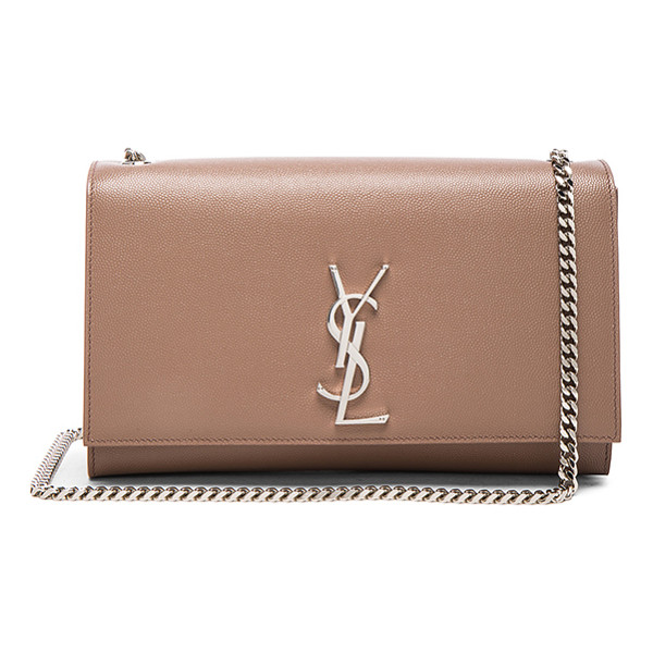 SAINT LAURENT Medium Monogramme Kate Chain Bag - Pebbled calfskin leather with grosgrain lining and