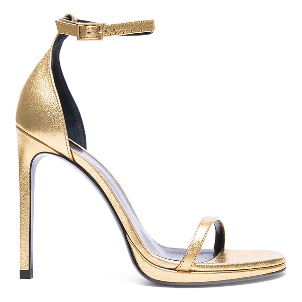 SAINT LAURENT Metallic Leather Jane Sandals - Leather upper and sole.  Made in Italy.  Approx 115mm/ 4.5...
