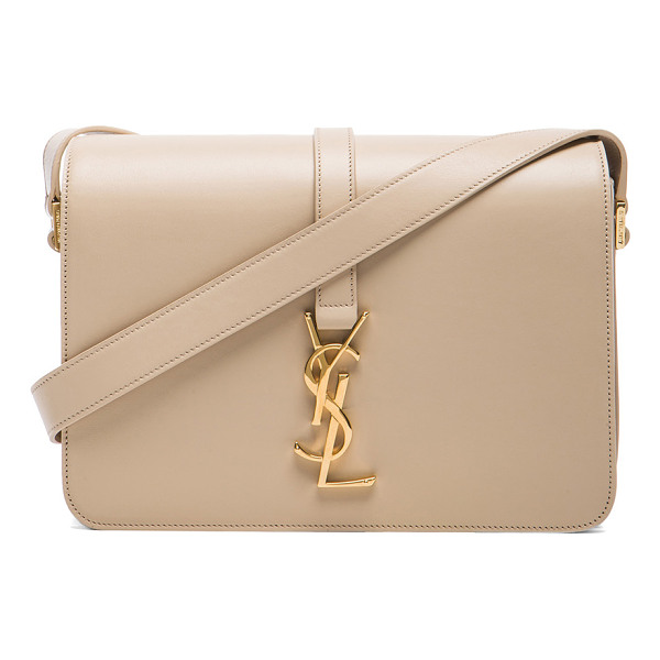 SAINT LAURENT Monogram universite bag - Calfskin leather with suede lining and gold-tone hardware. ...