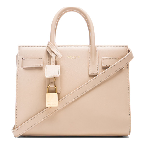 SAINT LAURENT Nano sac de jour carryall bag - Smooth calfskin leather with suede lining and gold-tone...