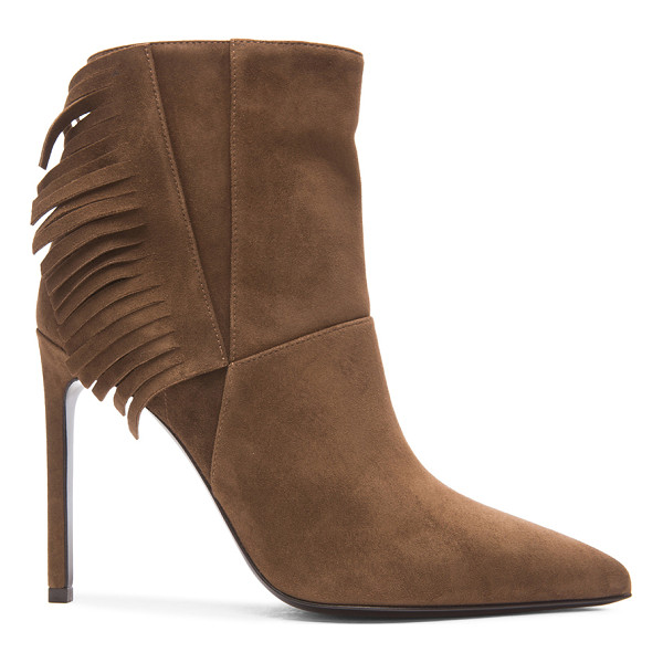 SAINT LAURENT Paris suede fringe booties - Suede upper with leather sole.  Made in Italy.  Approx...