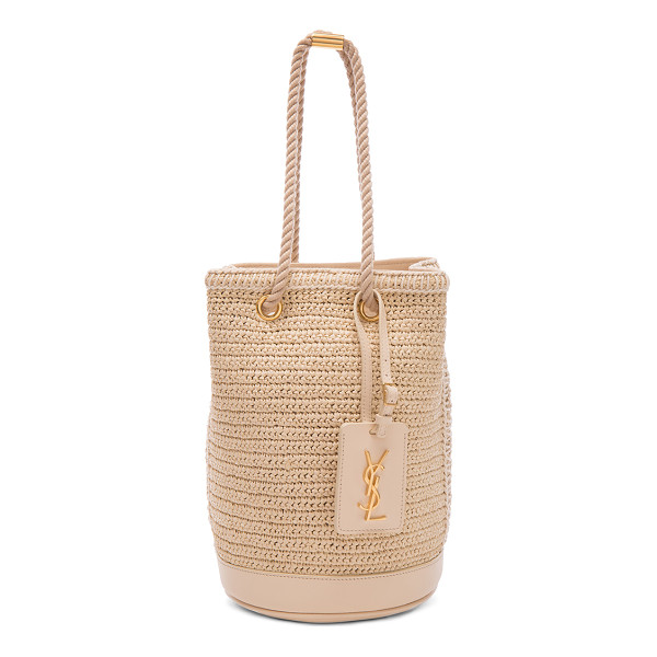 SAINT LAURENT Sea Small Rope Bucket Bag - Woven raffia with fabric lining and gold-tone hardware. ...