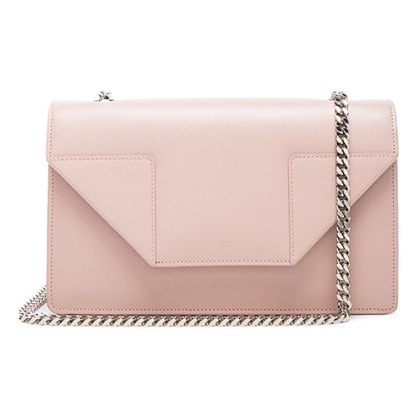 SAINT LAURENT Small Betty Chain Bag - Pebbled calfskin leather with suede lining and silver-tone...
