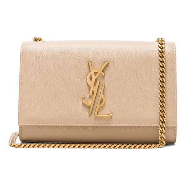 SAINT LAURENT Small Deconstructed Monogramme Kate Clutch - Pebbled calfskin leather with grosgrain lining and